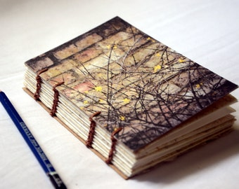 Hand Bound Notebook, Eco Friendly Sketchbook, Brick and Nature Cover Design, Coptic Stitch Binding with Handmade Paper, England Photography