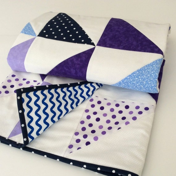 Quilted Purple And Blue Baby Blanket By NewEnglandPatches