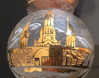 Small vase souvenir from Lourdes, screen printed gold, glass granulate