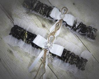 Mossy Oak Garter Set, Camo Garter Set, Bridal Garter, Wedding Garter, Mossy Oak Breakup, Garter, Camo Wedding, Mossy Oak White