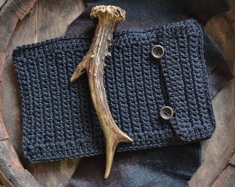 Tablet cover, black tablet cover, boho tablet case, Ipad cover, crochet kindle cover, tablet case, simple black Ipad case, boho kindle cover