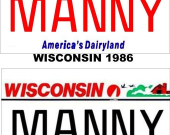 Personalized Wisconsin Refrigerator Magnet State License Plate Replica