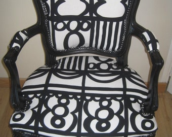 Bergère armchair style Louis XV restyled black and white