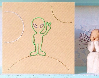 Hand Stitched Alien Card. Birthday. Thank You. Good Luck. Congratulations. Blank.