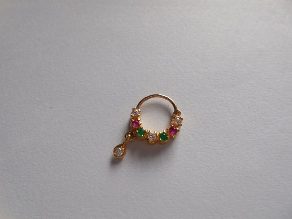 unique multi gemstone sated nose ring for by