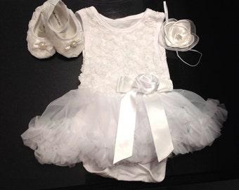 Baby girl baptism dress, Toddler,BabyGirl Tutu dress, Christening dress, pettiskirt, Wedding, Birthday dress, Onesie Tutu