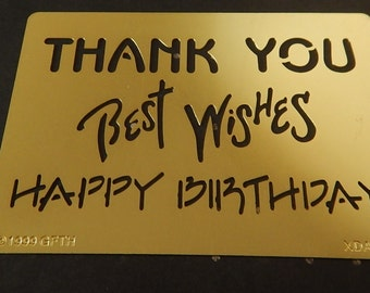 Sayings Large Brass Embossing Stencil Brand New Happy Birthday Thank You and Best Wishes Greeting Cards Crafts