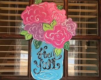 Spring Door Hanger, Mason Jar Door Hanger, Summer Door Hanger, Mason Jar with Flowers Door Hanger, Floral Door Hanger, Flower Door Hanger
