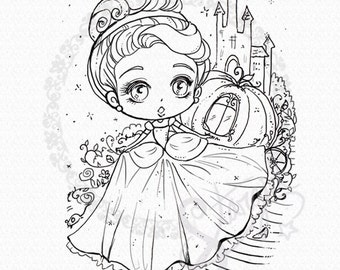 Cinderella DIGITAL STAMP Instant Download