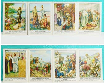 Vintage 1933 Set of 13 Picture Talks for Little Ones Picture Cards, Bible Lesson Picture Cards, Union Gospel Press Bible Cards