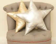 Metallic Gold, Silver Star Cushion. Gift cushion. Leather Star Cushion. Star Cushion. Christmas Decorate Cushion.