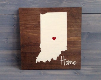 Pick Colors, Indiana Wood Sign, Indiana plaque, Hand Painted, Indianapolis art, Indiana decor, Indiana sign, State Guest Book