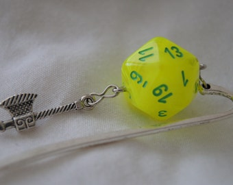 Marbled Yellow D20 and Hatchet Bookmark