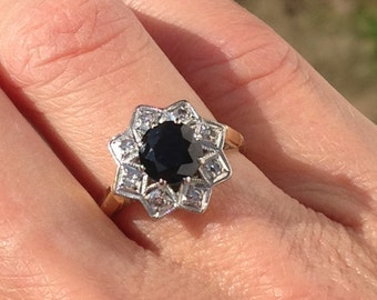 A Sapphire and Diamond Ring 18k
