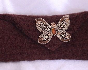 Beautiful Brown Felted Wallet makeup bag Butterfly on snap