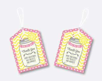Instant Download, Pink Lemonade Stand Favor Tags, Lemonade Thank You Tags, Gift Tags, Printable Gift Tags, DIY Party Printables (SKB.05)