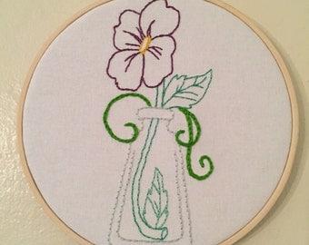 Flower in a vase embroidery hoop art