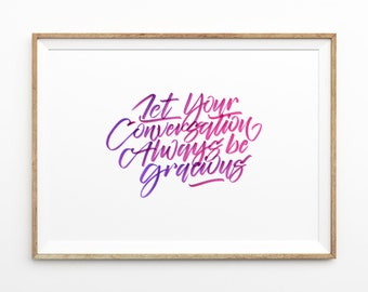 Pretty Purple & Pink Typography Poster | hand drawn brush lettering | inspirational quote