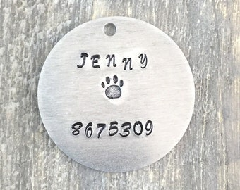 Large Custom Dog Tag - Metal Pet ID Tag - Hand Stamped Dog Name Tag - Personalized