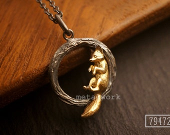 MW P1072 The 9K Gold Fox on 925 Silver Twig Pendant