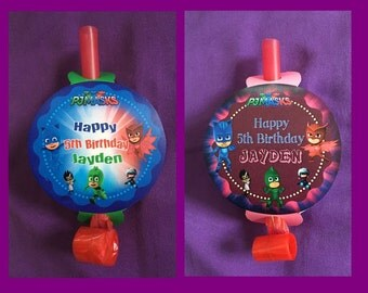 12 Personalized PJ Masks Party BlowOuts, Party Blowers, Party Favors