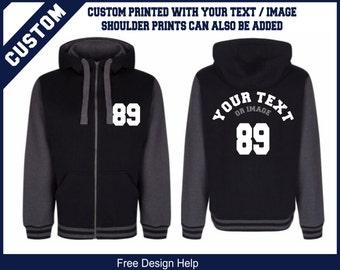 custom printed black varsity style baseball hoodie hoody sweater
