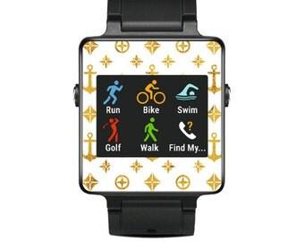 Skin Decal Wrap for Garmin Vivoactive Forerunner, Vivoactive Forerunner Hr Watch cover sticker Gold Anchors