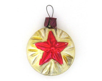 Bauble with Star, Rare Soviet Christmas tree decoration, Red, Glass Christmas ornament, New Year, Russian Toy, USSR, Soviet Union, 1960s
