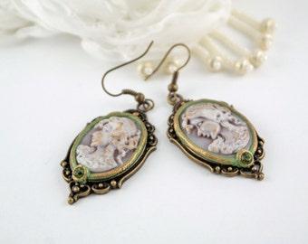 vintage inspired earrings green cameo earrings cameo jewelry green swarovski earrings victorian earrings victorian inspired bright earrings