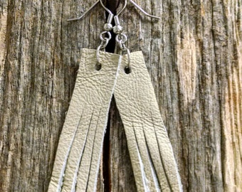 White Fringe Suede Leather Earrings