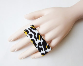 Two Finger Ring With Wild Animal Print - Leopard Print Double Finger Knuckle Ring - Black White Gold Jewelry