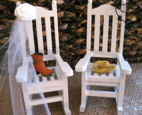 Country Western Cowboy Themed Mini Rocking Chair Cake Topper with Boot & Hat