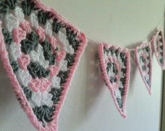 Hand Crocheted Bunting. Nursery Bunting. Caravan Bunting. MADE TO ORDER