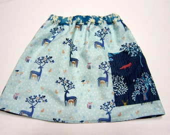 Girls Reversible Skirt in Cotton Woodland Dear Stella Fabrics  Sizes 2   5