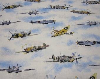 Vintage Airplane Cotton Fabric Designed by Ian McGowan for Robert Kaufman Fabrics Transportation Series