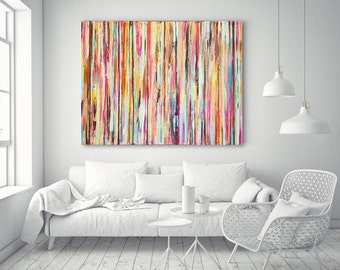 Abstract Painting Large Wall Art Large Colorful Art Fine Art Home Decor Large Painting Modern Art Stripes Rainbow Oversized