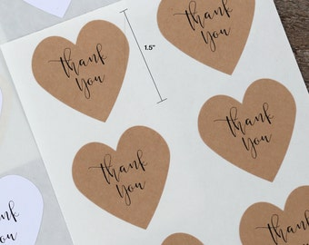 Set of 24 Thank You Stickers - for Envelope Seals, Wedding Favor Packaging