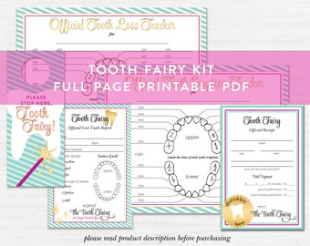 Tooth Fairy Printable Bundle, Tooth Fairy Kit, Tooth Fairy Receipt, Tooth Fairy Report, Children Printable, Printable Kit, Kid Projects