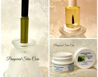 Essential Nail Repair Bundle Set, Premium Oil Blend, Protein Rich Hemp Oil, Biotin, Healthy Nails and Cuticles, Stronger Fingernails