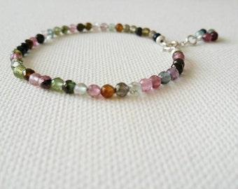 Turmaline bracelet. Handmade Turmaline and silver bracelet. Semiprecious. Handmade jewellery. Turmaline