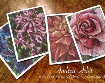 Vertical Flowers - Pack of Four Blank A2 Notecards - Colored Pencil Art Prints