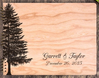 Country Wedding Guest Book, Evergreen Tree Guestbook, Fir Tree Guest Book, Christmas Tree Guest Book, Forest Wedding, Wood Guest Book