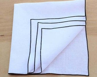 Linen Napkins, Black & White Napkins, Cloth Napkins, Table Linens, Wedding Napkins, Choose Your Trim Color, Set of 4, 20 ""
