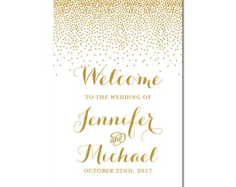 Wedding Welcome Sign - Reception Sign - Welcome Sign - Gold Wedding Sign - Modern Wedding Sign - Gold Sparkles - Wedding Sign #CL116