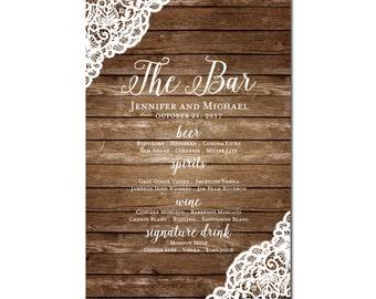 Printable Bar Menu Sign, Wedding Printable Bar Menu Sign, Wedding Bar Menu Poster, Printable Sign, Wedding Bar Menu, Drink Menu #CL150