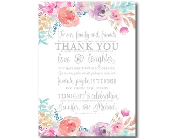 Floral Wedding Thank You Card, Watercolor Floral, Floral Thank You, Watercolor Thank You Card, Wedding Thanks, Wedding Thank You Card #CL198