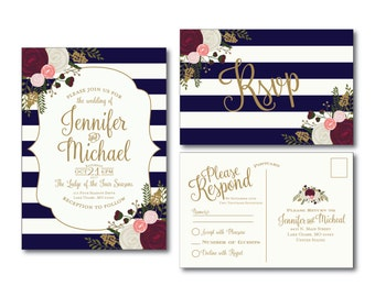 Vintage Wedding Invitation & RSVP Postcard Set - Fall Wedding - Vintage Floral - Floral Wedding - Vintage Wedding - Printable Wedding Set