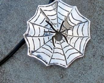 Sterling silver pendant -Spider on a Web design - Original hand made