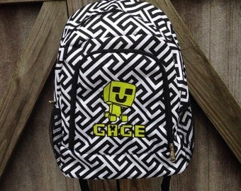 Personalized Minecraft Booksack Backpack Bookbag - Embroidered Creeper and Custom Name