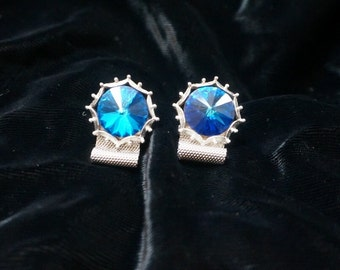 Vintage Gorgeous Blue Crystal Prisms  with Silver Mesh Wrap Cufflinks